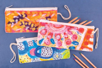 Abstract Pencil Cases inspired by Ken Done and Clare Whitney
