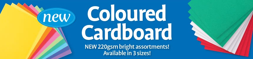 Coloured Cardboard - New 220gsm bright assortments! Available in 3 sizes!