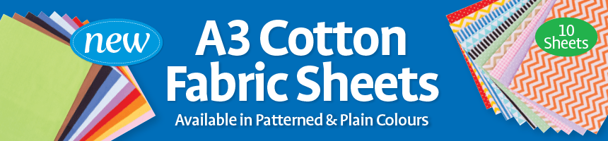 A3 Cotton Fabric Sheets - Available in Patterned & Plain Colours