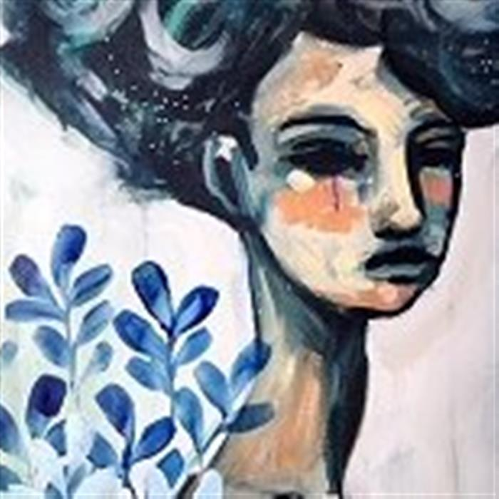 Create expressive portraits in Acrylic. Abstract painting of a woman with flowers next to her