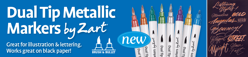 Dual Tip Metallic Markers by Zart - Great for illustration & lettering. Works great on black paper!