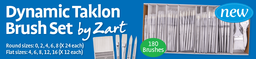 Dynamic Taklon Brush Set by Zart - Round sizes: 0, 2, 4, 6, 8 (X 24 each) - Flat sizes: 4, 6, 8, 12, 16 (Z 12 each)