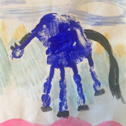 Blue Horse Hand Painting lesson plan activity inspired by Franz Marc