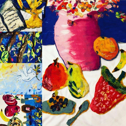 collage of student artwork showing bright still life, images of faith and nature.
