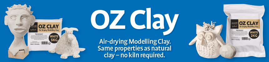 Oz Clay - Air-drying Modelling Clay. Same properties as natural clay - no kiln required.