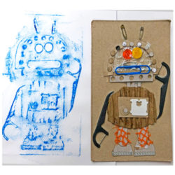 Robot Collagraphs Zart At Home Art Learning Lesson Plan by Dee Zabel
