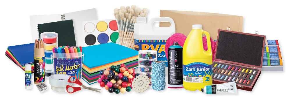 Zart Assorted product range with paint, scissors, pens and much more.